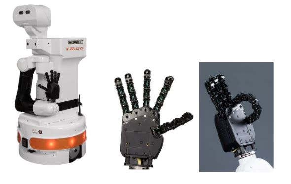 One Arm TIAGO Robot with the detail of the hey5 hand